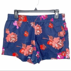 J. Crew Pull On Floral Linen Cotton Blend Shorts